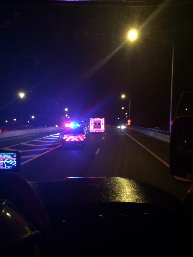 Rescue and BLS respond to overturned tractor trailer on RT 295
