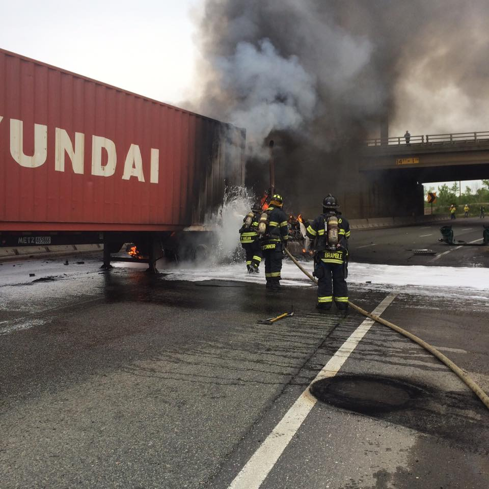 Engine Company responds to tractor trailer fire on 295