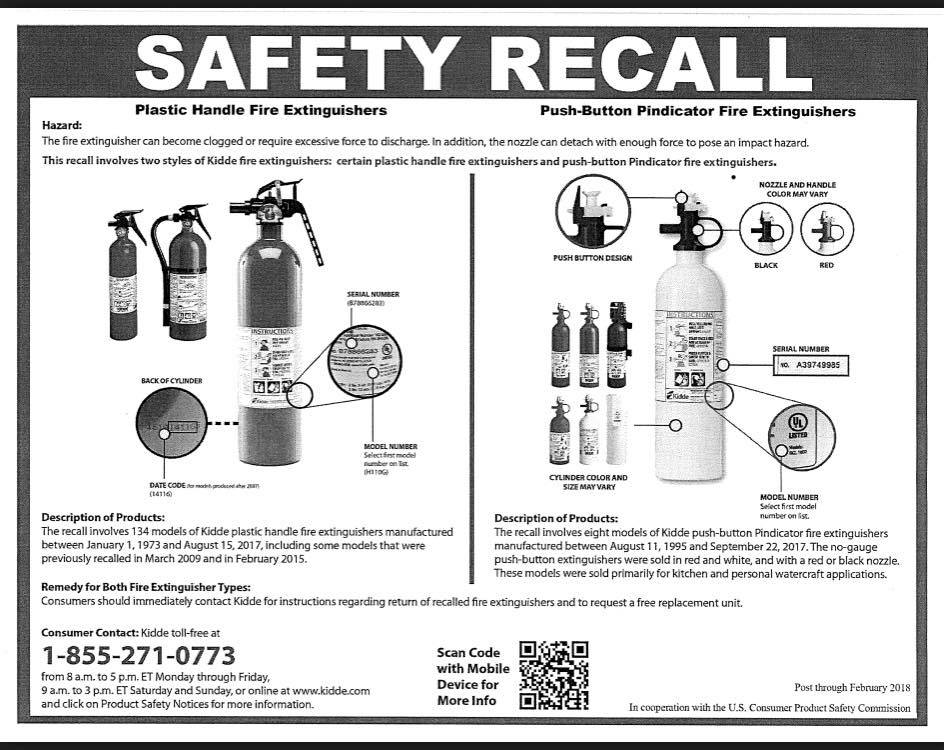 IMPORTANT SAFETY RECALL from Kidde