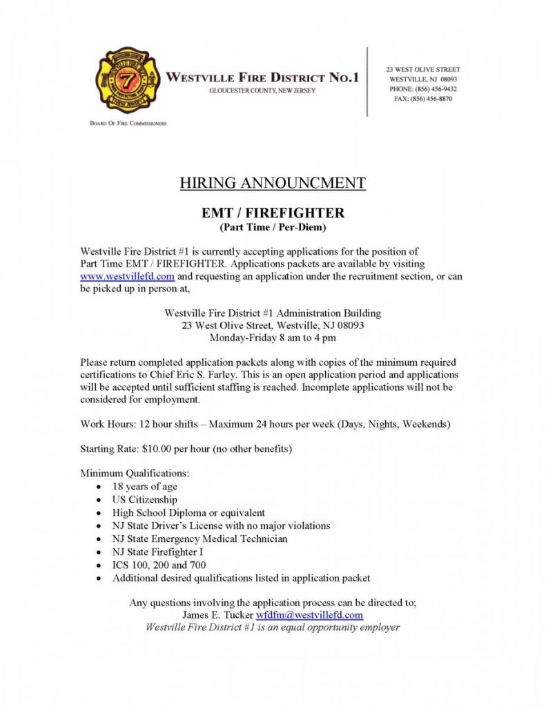 Fire District seeking Part Time Emt/Firefighter's